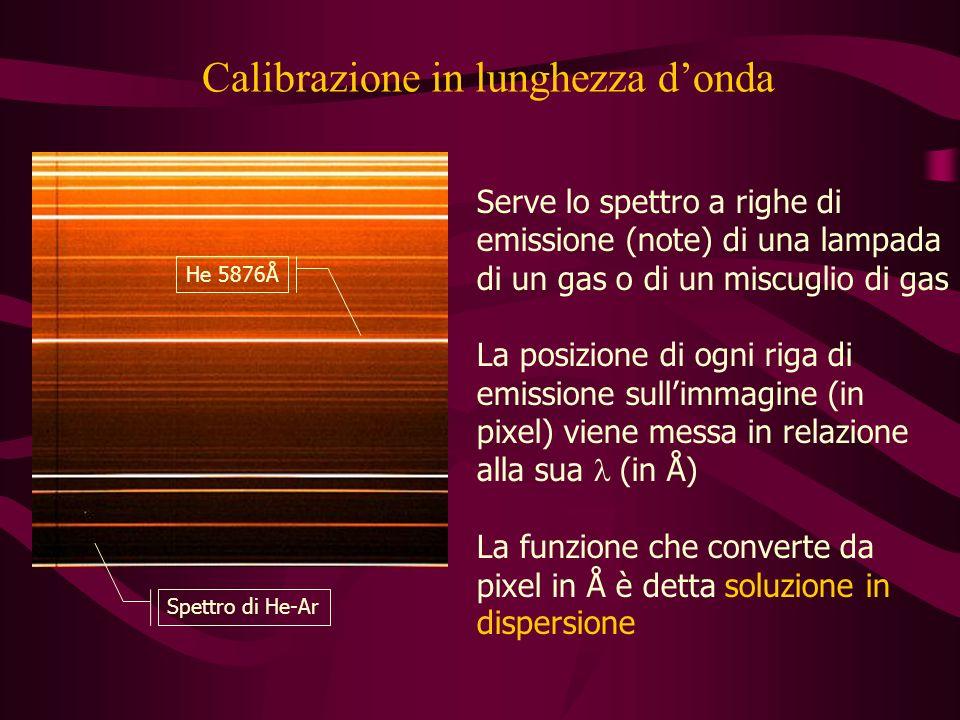 Calibrazione in lunghezza donda Spettro di He-Ar He 5876Å Serve lo spettro a righe di emissione (note) di una lampada di un gas o di un miscuglio di gas La posizione di ogni riga di emissione sullimmagine (in pixel) viene messa in relazione alla sua (in Å) La funzione che converte da pixel in Å è detta soluzione in dispersione