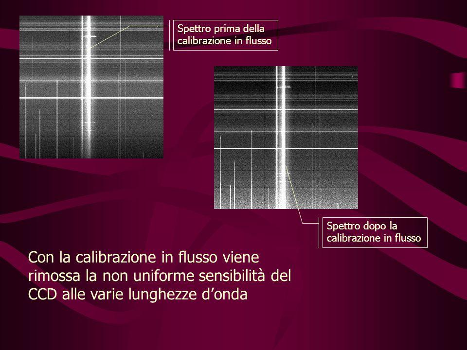 Spettro prima della calibrazione in flusso Spettro dopo la calibrazione in flusso Con la calibrazione in flusso viene rimossa la non uniforme sensibilità del CCD alle varie lunghezze donda