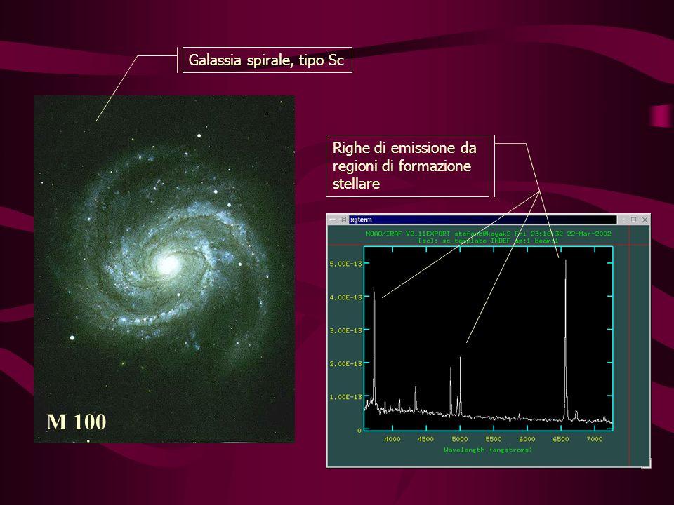 M 100 Galassia spirale, tipo Sc Righe di emissione da regioni di formazione stellare