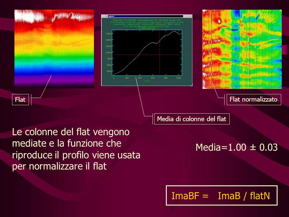 Media=1.00 ± 0.03 Flat Flat normalizzato Media di colonne del flat ImaBF = ImaB / flatN Le colonne del flat vengono mediate e la funzione che riproduce il profilo viene usata per normalizzare il flat
