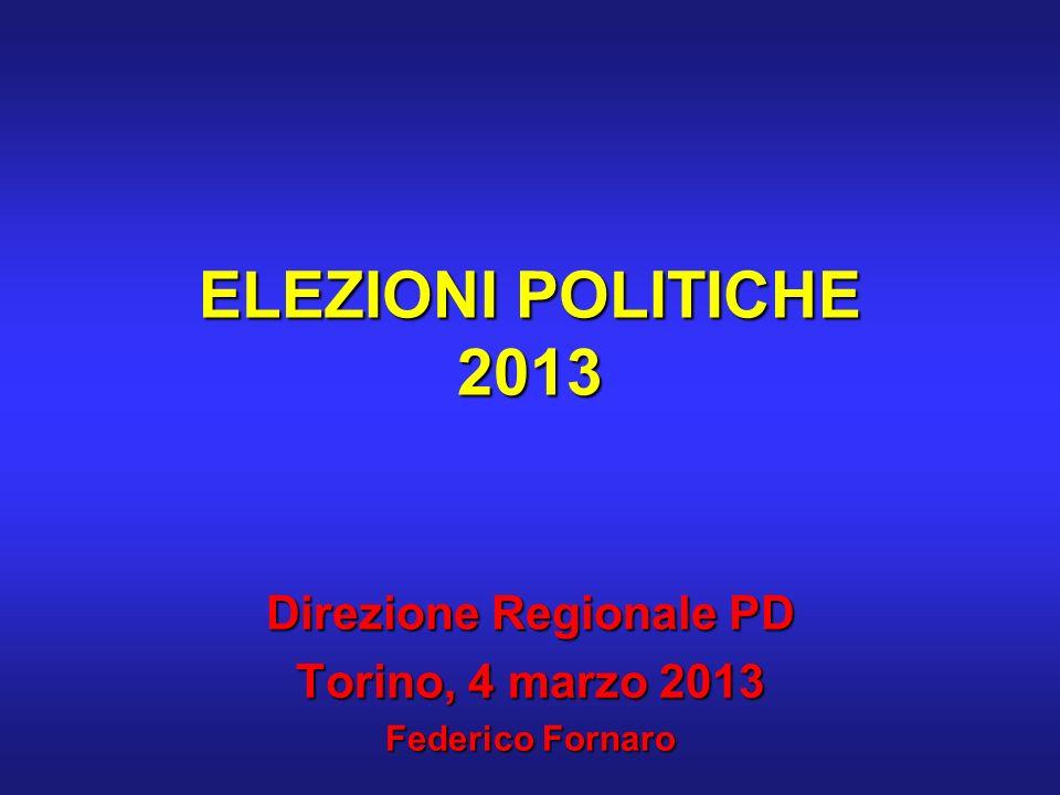 ELEZIONI POLITICHE 2013 Direzione Regionale PD Torino, 4 marzo 2013 Federico Fornaro
