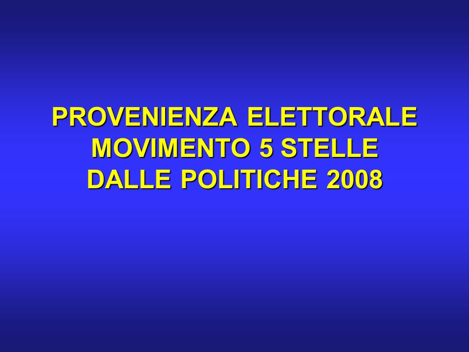 PROVENIENZA ELETTORALE MOVIMENTO 5 STELLE DALLE POLITICHE 2008