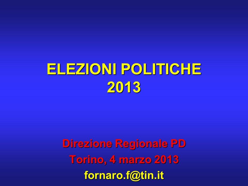 ELEZIONI POLITICHE 2013 Direzione Regionale PD Torino, 4 marzo 2013 fornaro.f@tin.it