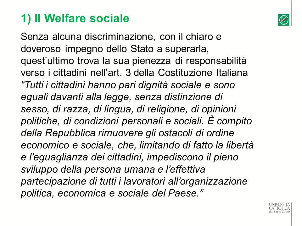 1) Il Welfare sociale Senza alcuna discriminazione, con il chiaro e doveroso impegno dello Stato a superarla, questultimo trova la sua pienezza di responsabilità verso i cittadini nellart.