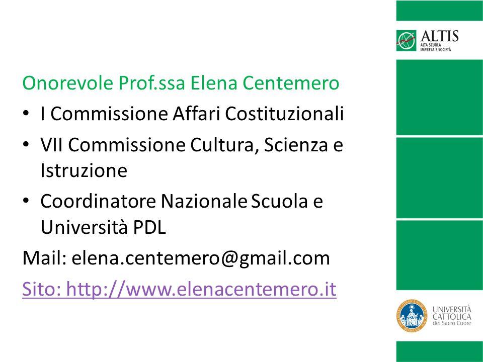 Onorevole Prof.ssa Elena Centemero I Commissione Affari Costituzionali VII Commissione Cultura, Scienza e Istruzione Coordinatore Nazionale Scuola e U