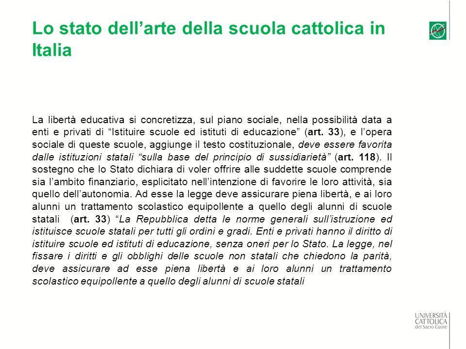 Lo stato dellarte della scuola cattolica in Italia La libertà educativa si concretizza, sul piano sociale, nella possibilità data a enti e privati di Istituire scuole ed istituti di educazione (art.