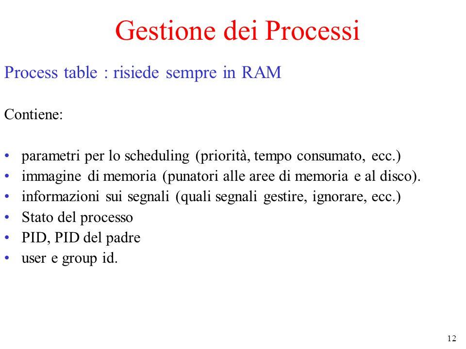 12 Gestione dei Processi Process table : risiede sempre in RAM Contiene: parametri per lo scheduling (priorità, tempo consumato, ecc.) immagine di memoria (punatori alle aree di memoria e al disco).
