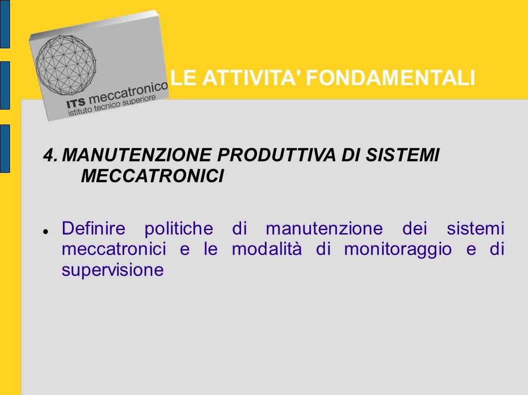 LE ATTIVITA FONDAMENTALI 3.GESTIONE DI SISTEMI MECCATRONICI Collaborare alla gestione dei sistemi meccatronici ed alla gestione dei processi produttivi