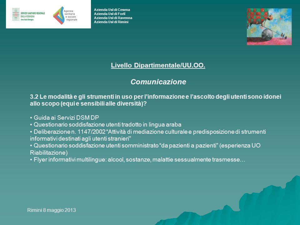 Livello Dipartimentale/UU.OO. Comunicazione 3.2 Le modalità e gli strumenti in uso per linformazione e lascolto degli utenti sono idonei allo scopo (e