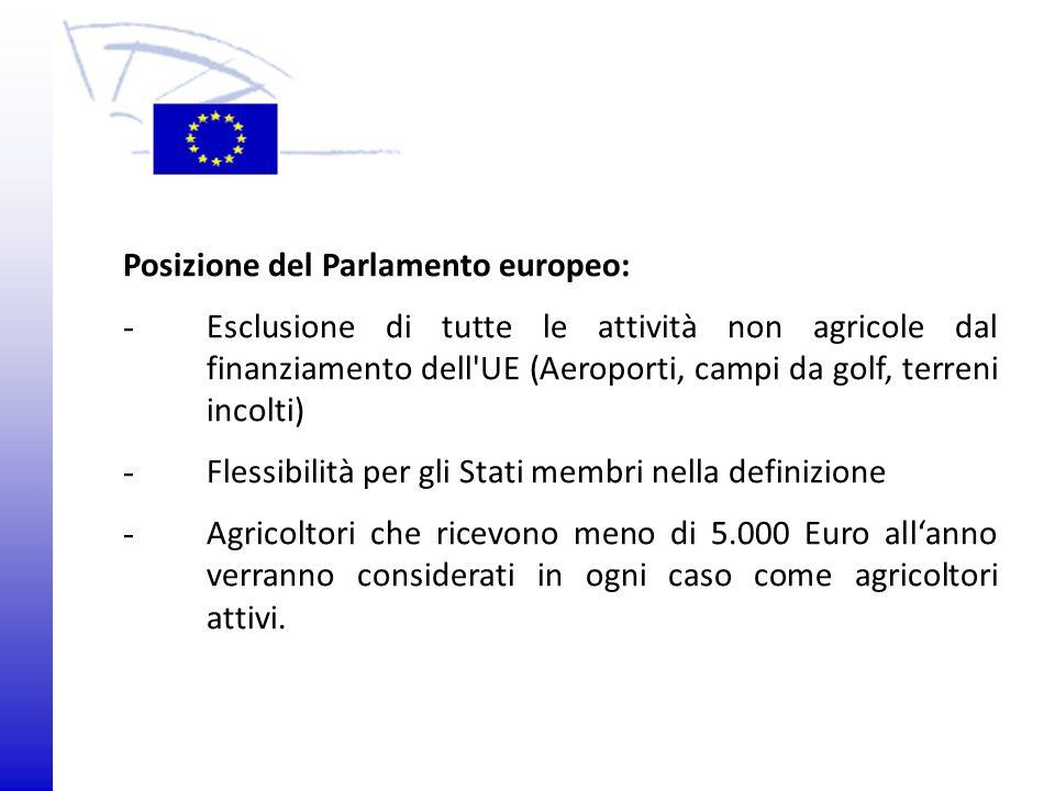 © 2009 Europäisches Parlament, Besucherdienst Posizione del Parlamento europeo: - Esclusione di tutte le attività non agricole dal finanziamento dell'