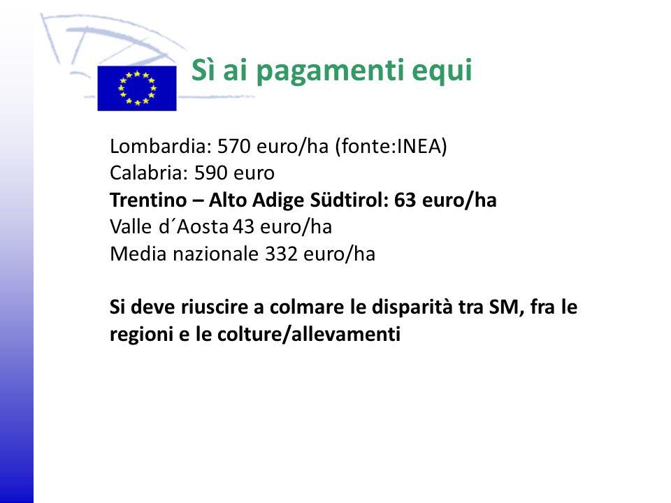 © 2009 Europäisches Parlament, Besucherdienst Lombardia: 570 euro/ha (fonte:INEA) Calabria: 590 euro Trentino – Alto Adige Südtirol: 63 euro/ha Valle