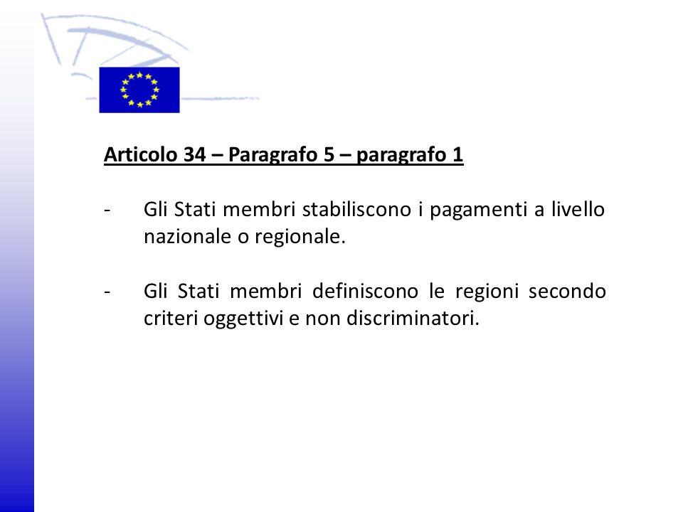 © 2009 Europäisches Parlament, Besucherdienst Articolo 34 – Paragrafo 5 – paragrafo 1 - Gli Stati membri stabiliscono i pagamenti a livello nazionale