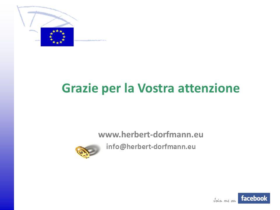 © 2009 Europäisches Parlament, Besucherdienst Grazie per la Vostra attenzione www.herbert-dorfmann.eu info@herbert-dorfmann.eu Join me on