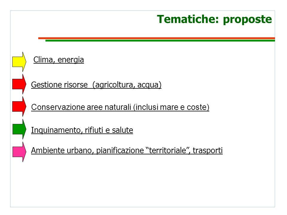 Tematiche: proposte Clima, energia Inquinamento, rifiuti e salute Gestione risorse (agricoltura, acqua) Ambiente urbano, pianificazione territoriale, trasporti Conservazione aree naturali (inclusi mare e coste)