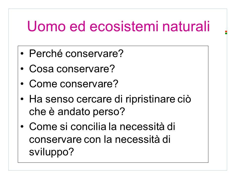 Uomo ed ecosistemi naturali Perché conservare. Cosa conservare.