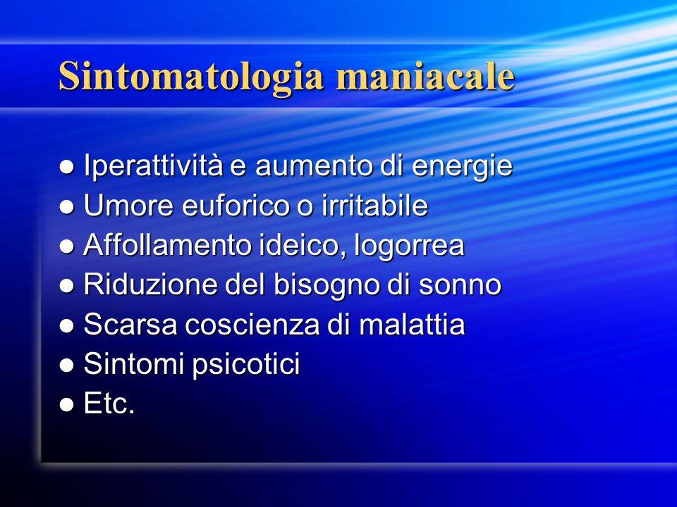 Sintomatologia maniacale Iperattività e aumento di energie Iperattività e aumento di energie Umore euforico o irritabile Umore euforico o irritabile A