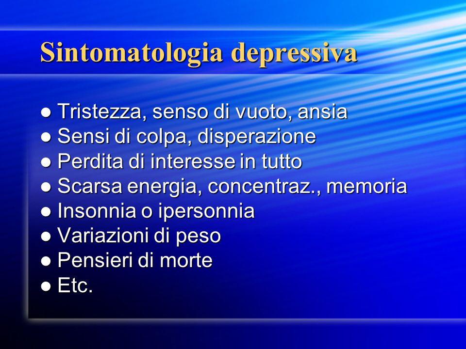 Sintomatologia depressiva Tristezza, senso di vuoto, ansia Tristezza, senso di vuoto, ansia Sensi di colpa, disperazione Sensi di colpa, disperazione