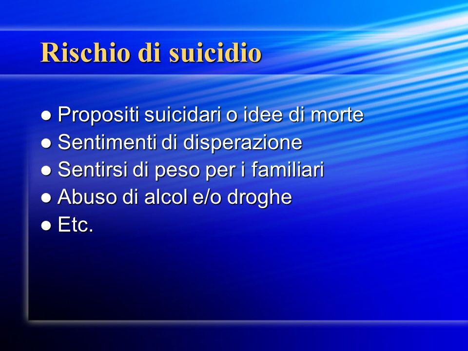Rischio di suicidio Propositi suicidari o idee di morte Propositi suicidari o idee di morte Sentimenti di disperazione Sentimenti di disperazione Sent