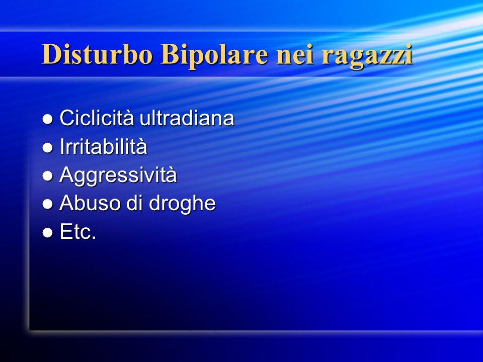 Disturbo Bipolare nei ragazzi Ciclicità ultradiana Ciclicità ultradiana Irritabilità Irritabilità Aggressività Aggressività Abuso di droghe Abuso di d