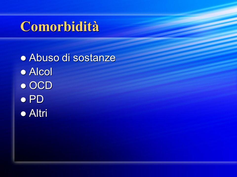 Comorbidità Abuso di sostanze Abuso di sostanze Alcol Alcol OCD OCD PD PD Altri Altri