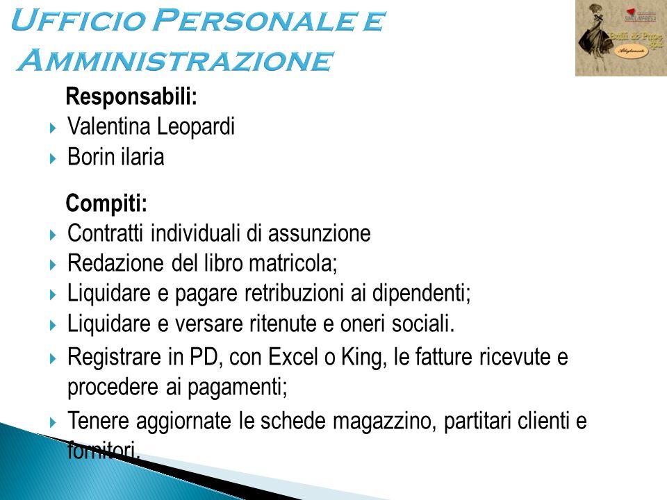 Ufficio Personale e Amministrazione Responsabili: Valentina Leopardi Borin ilaria Compiti: Contratti individuali di assunzione Redazione del libro mat