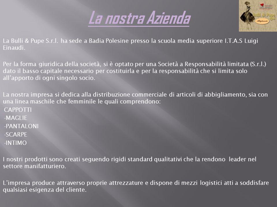 La nostra Azienda La Bulli & Pupe S.r.l. ha sede a Badia Polesine presso la scuola media superiore I.T.A.S Luigi Einaudi. Per la forma giuridica della