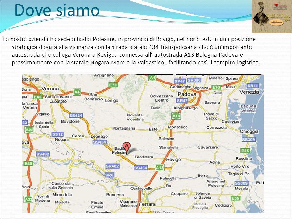 Dove siamo La nostra azienda ha sede a Badia Polesine, in provincia di Rovigo, nel nord- est. In una posizione strategica dovuta alla vicinanza con la