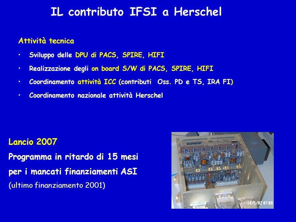 IL contributo IFSI a Herschel Attività tecnica Sviluppo delle DPU di PACS, SPIRE, HIFI Realizzazione degli on board S/W di PACS, SPIRE, HIFI Coordinam