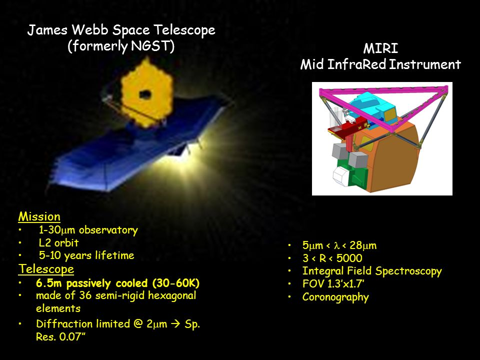 James Webb Space Telescope (formerly NGST) Mission 1-30 m observatory L2 orbit 5-10 years lifetime Telescope 6.5m passively cooled (30-60K) made of 36