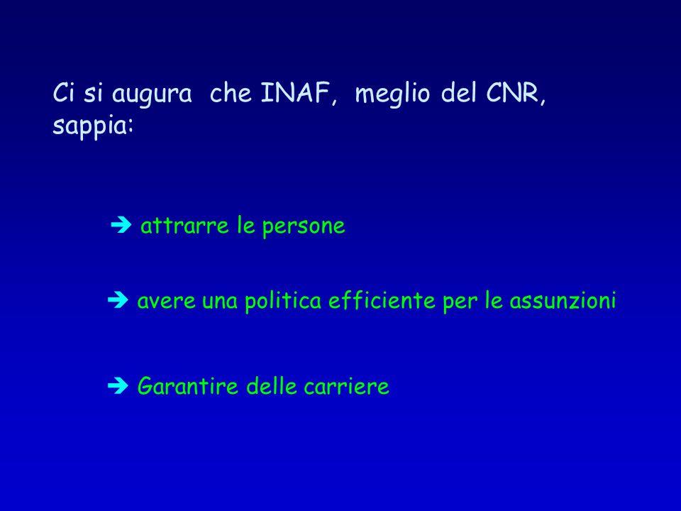 attrarre le persone Garantire delle carriere Ci si augura che INAF, meglio del CNR, sappia: avere una politica efficiente per le assunzioni