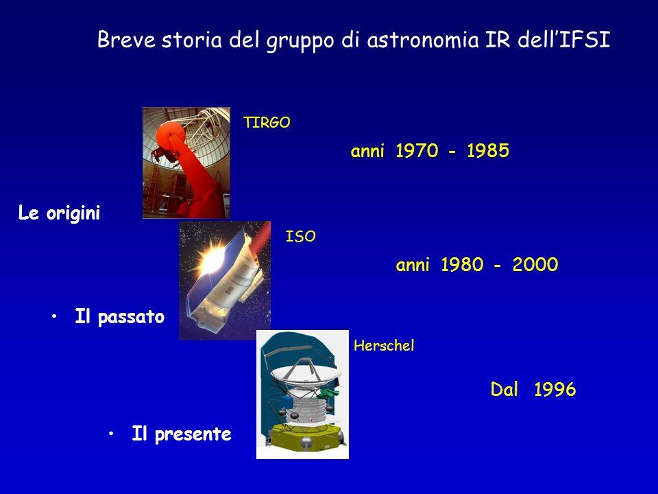 Le origini TIRGO Il passato ISO Il presente Herschel anni 1970 - 1985 anni 1980 - 2000 Dal 1996 Breve storia del gruppo di astronomia IR dellIFSI