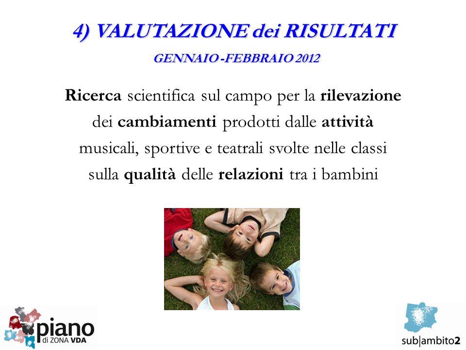 4) VALUTAZIONE dei RISULTATI GENNAIO -FEBBRAIO 2012 Ricerca scientifica sul campo per la rilevazione dei cambiamenti prodotti dalle attività musicali, sportive e teatrali svolte nelle classi sulla qualità delle relazioni tra i bambini
