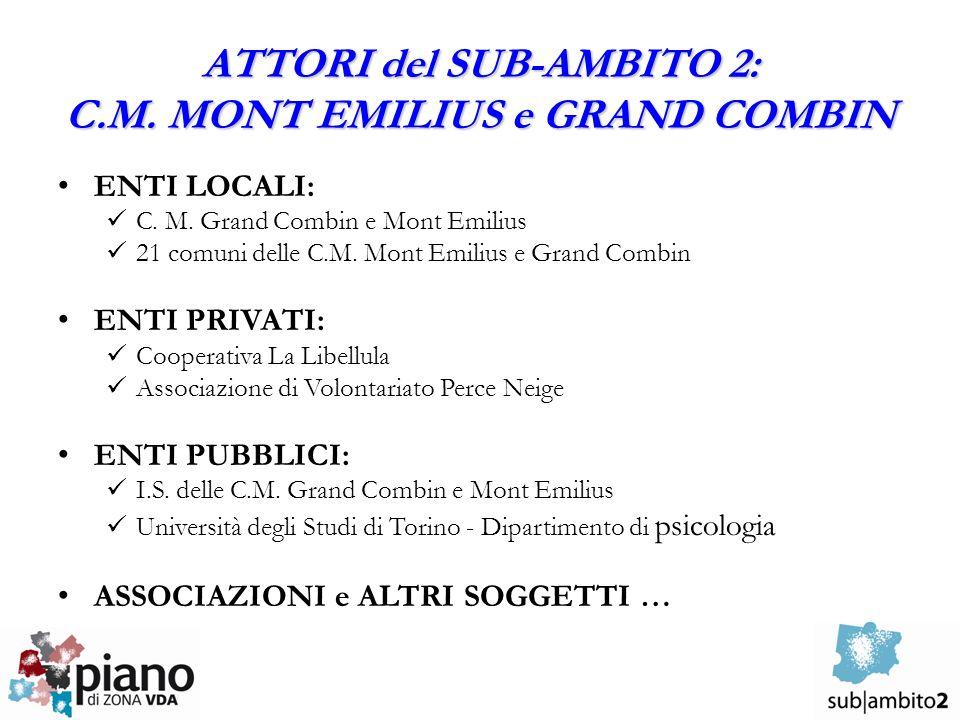 ATTORI del SUB-AMBITO 2: C.M. MONT EMILIUS e GRAND COMBIN ENTI LOCALI: C. M. Grand Combin e Mont Emilius 21 comuni delle C.M. Mont Emilius e Grand Com