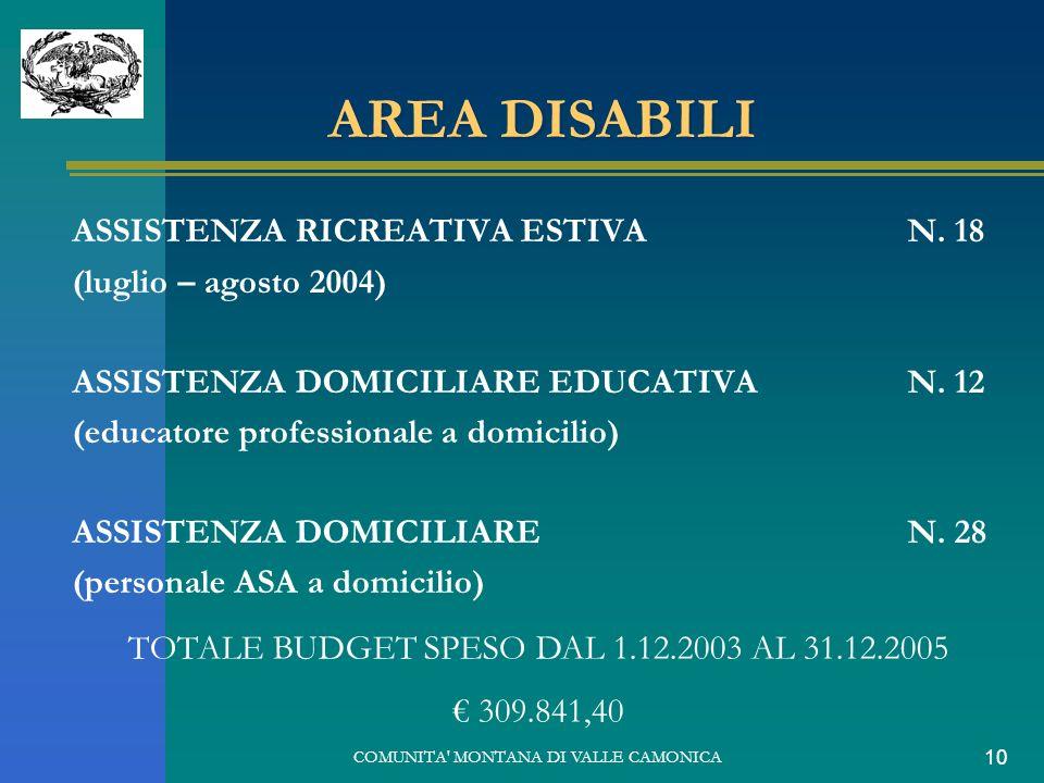 COMUNITA' MONTANA DI VALLE CAMONICA 10 AREA DISABILI ASSISTENZA RICREATIVA ESTIVA N. 18 (luglio – agosto 2004) ASSISTENZA DOMICILIARE EDUCATIVA N. 12