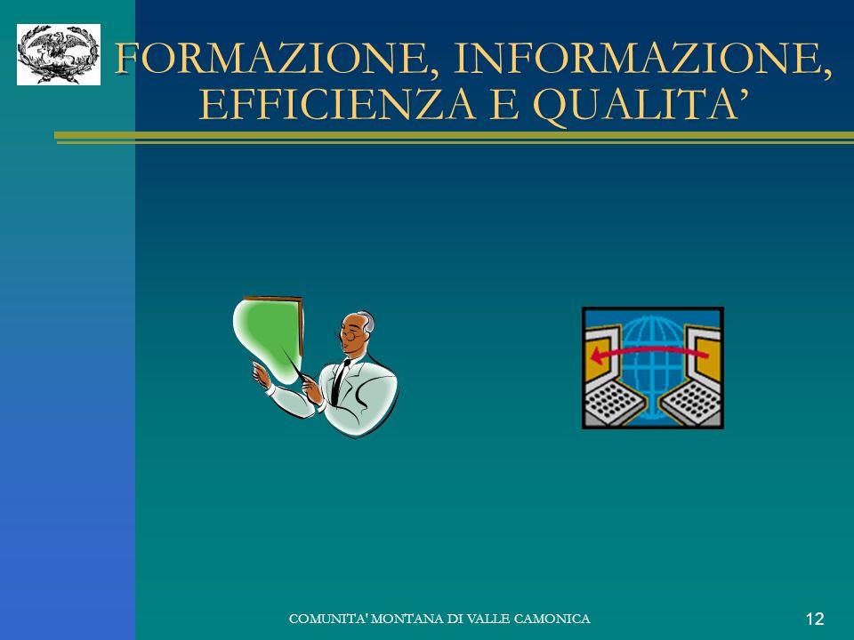 COMUNITA' MONTANA DI VALLE CAMONICA 12 FORMAZIONE, INFORMAZIONE, EFFICIENZA E QUALITA