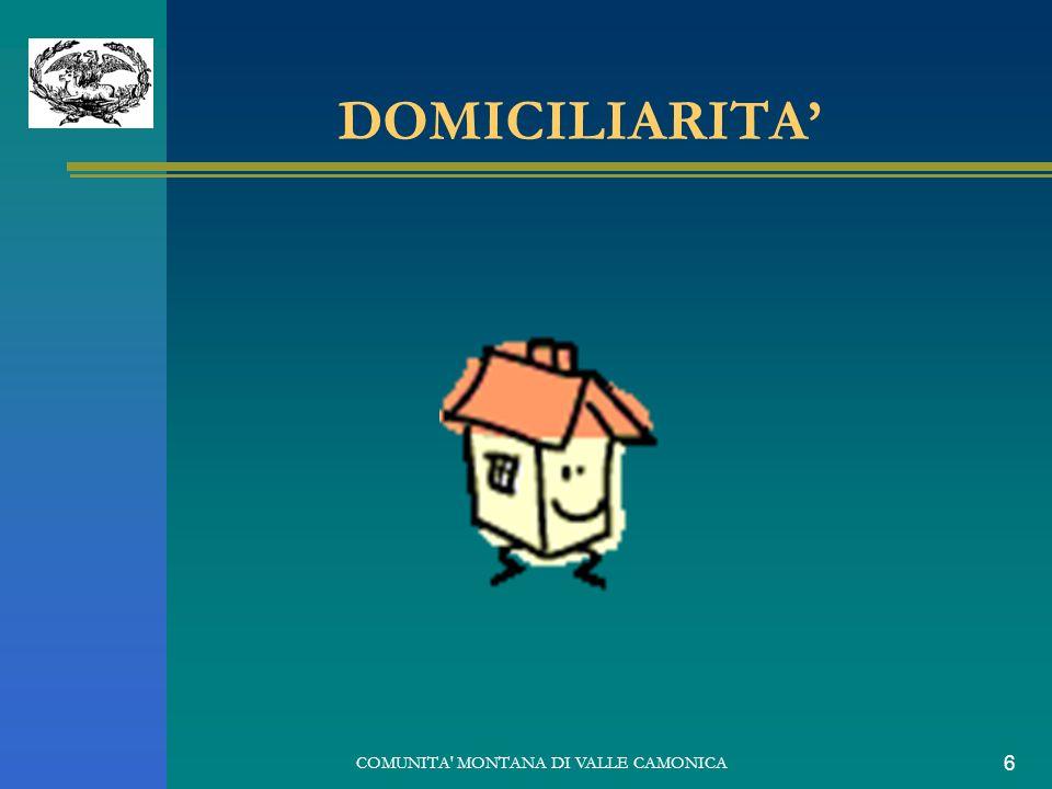 COMUNITA' MONTANA DI VALLE CAMONICA 6 DOMICILIARITA