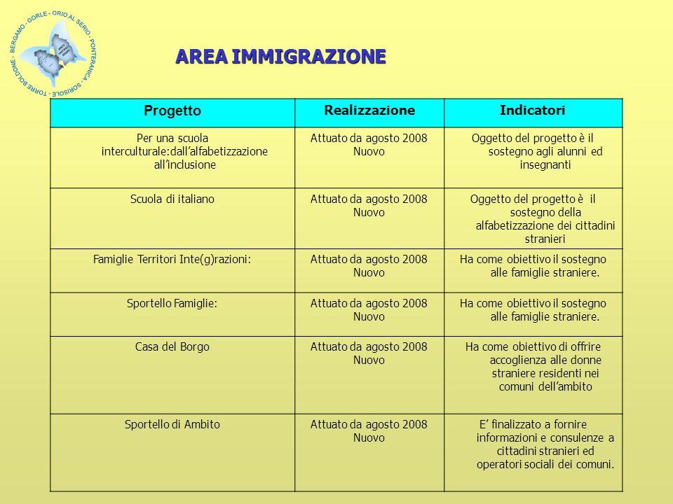 Progetto RealizzazioneIndicatori Per una scuola interculturale:dallalfabetizzazione allinclusione Attuato da agosto 2008 Nuovo Oggetto del progetto è