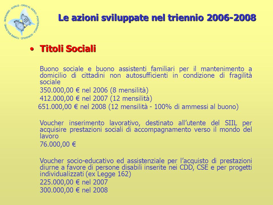 Le azioni sviluppate nel triennio 2006-2008 Titoli SocialiTitoli Sociali Buono sociale e buono assistenti familiari per il mantenimento a domicilio di cittadini non autosufficienti in condizione di fragilità sociale 350.000,00 nel 2006 (8 mensilità) 412.000,00 nel 2007 (12 mensilità) 651.000,00 nel 2008 (12 mensilità - 100% di ammessi al buono) Voucher inserimento lavorativo, destinato allutente del SIIL per acquisire prestazioni sociali di accompagnamento verso il mondo del lavoro 76.000,00 Voucher socio-educativo ed assistenziale per lacquisto di prestazioni diurne a favore di persone disabili inserite nei CDD, CSE e per progetti individualizzati (ex Legge 162) 225.000,00 nel 2007 300.000,00 nel 2008
