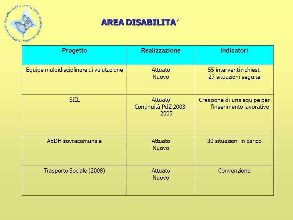 ProgettoRealizzazioneIndicatori Equipe mulpidisciplinare di valutazioneAttuato Nuovo 55 interventi richiesti 27 situazioni seguite SIILAttuato Continu