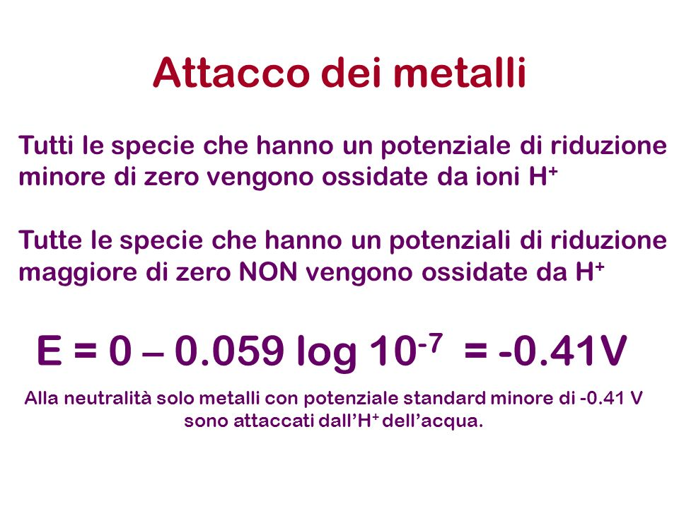 Attacco dei metalli I metalli con potenziale standard di riduzione maggiore di zero non sono attaccati dallo ione idrogeno ma solo da agenti ossidanti come acido nitrico e acido perclorico, acido solforico es: 3Cu + 2NO 3 - + 8H + 3Cu 2+ + 2NO + 4H 2 O 3Ag + 2NO 3 - + 4H + 3Ag + + NO + 2H 2 O Sono detti Metalli nobili = Au, Ag, Cu, Pt, Pd, Hg