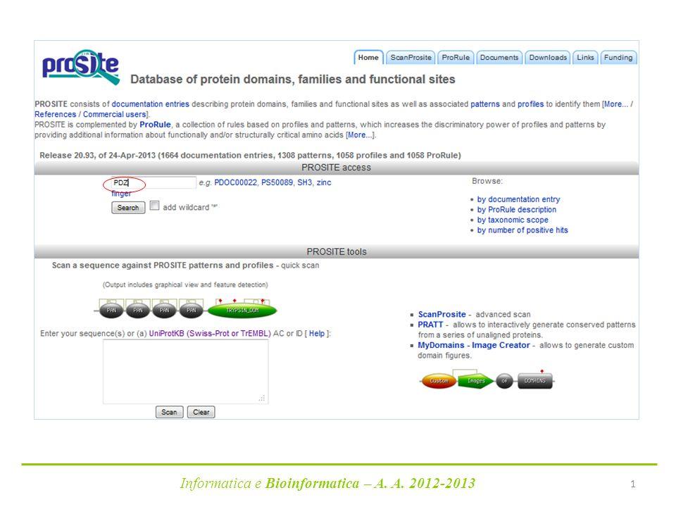 Informatica e Bioinformatica – A. A. 2012-2013 1