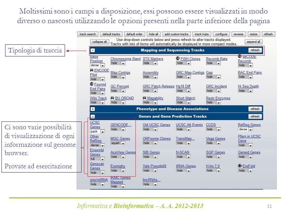 Informatica e Bioinformatica – A. A. 2012-2013 11 Moltissimi sono i campi a disposizione, essi possono essere visualizzati in modo diverso o nascosti