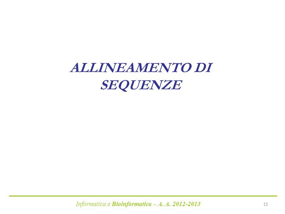 Informatica e Bioinformatica – A. A. 2012-2013 15 ALLINEAMENTO DI SEQUENZE