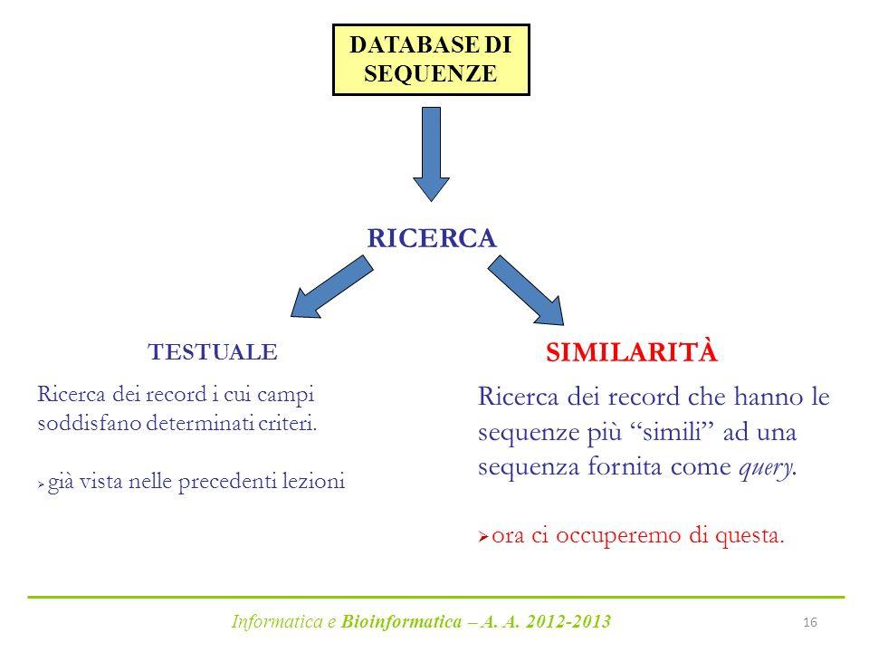 Informatica e Bioinformatica – A. A. 2012-2013 16 DATABASE DI SEQUENZE RICERCA TESTUALE SIMILARITÀ Ricerca dei record che hanno le sequenze più simili