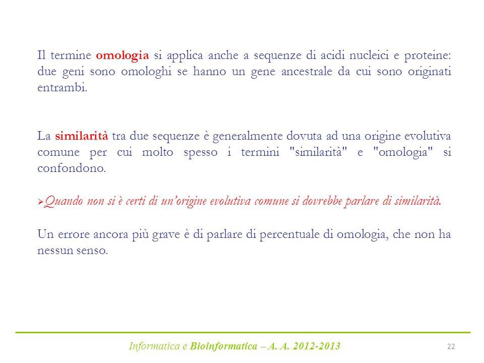 Informatica e Bioinformatica – A. A. 2012-2013 22 Il termine omologia si applica anche a sequenze di acidi nucleici e proteine: due geni sono omologhi