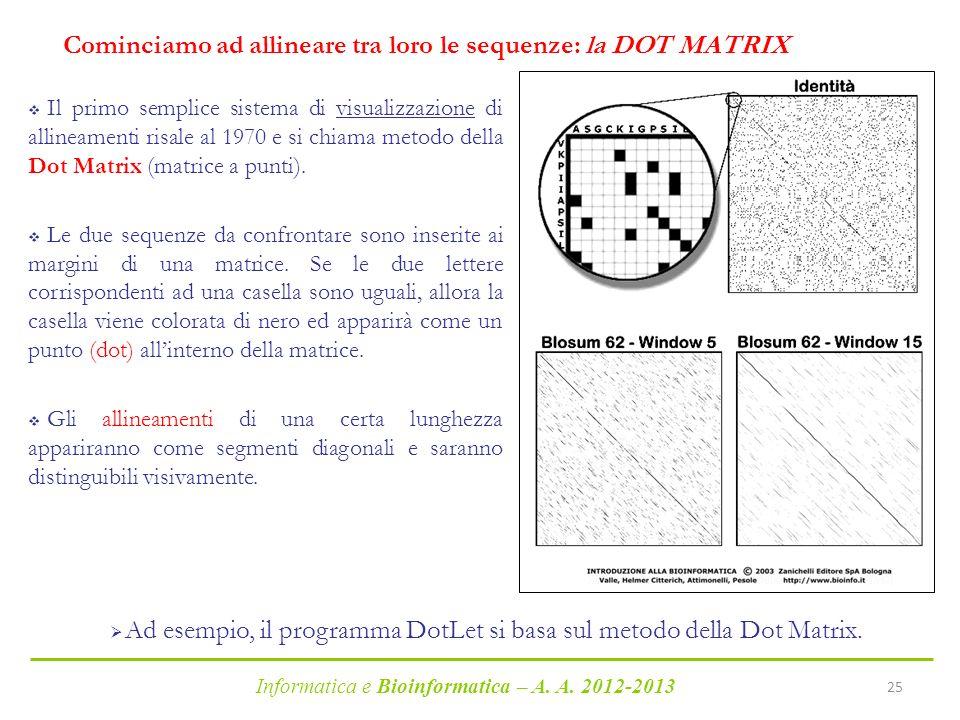 Informatica e Bioinformatica – A. A. 2012-2013 25 Cominciamo ad allineare tra loro le sequenze: la DOT MATRIX Il primo semplice sistema di visualizzaz