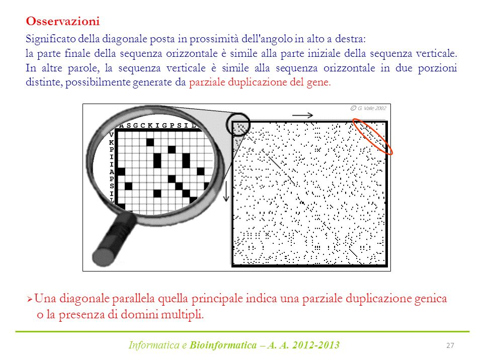Informatica e Bioinformatica – A. A. 2012-2013 27 Significato della diagonale posta in prossimità dell'angolo in alto a destra: la parte finale della
