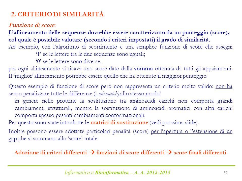 Informatica e Bioinformatica – A. A. 2012-2013 32 2. CRITERIO DI SIMILARITÀ Funzione di score: Lallineamento delle sequenze dovrebbe essere caratteriz