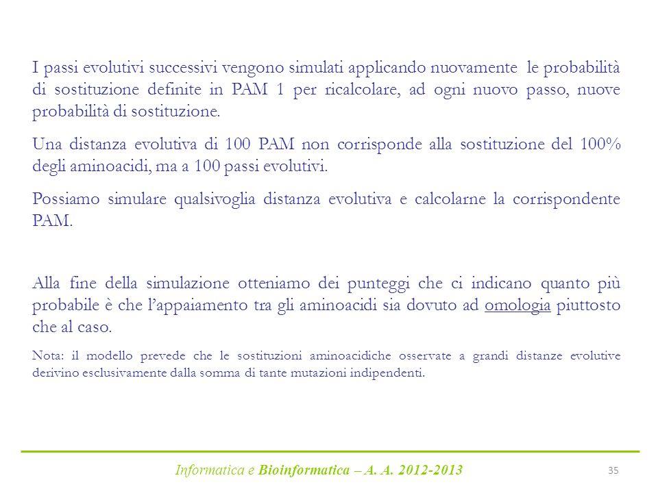 Informatica e Bioinformatica – A. A. 2012-2013 35 I passi evolutivi successivi vengono simulati applicando nuovamente le probabilità di sostituzione d