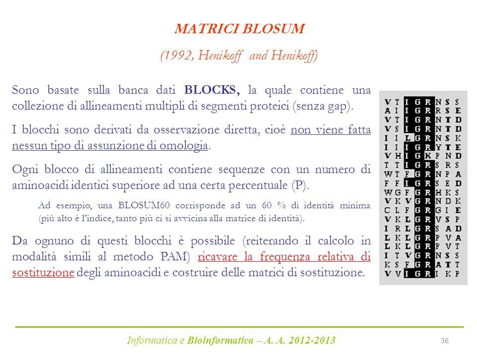 Informatica e Bioinformatica – A. A. 2012-2013 36 MATRICI BLOSUM (1992, Henikoff and Henikoff) Sono basate sulla banca dati BLOCKS, la quale contiene
